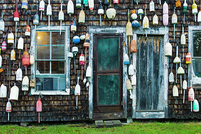 Buoys Photograph - Maine, Pemaquid Point, Lobster Buoys by Walter Bibikow