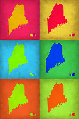 Modern Poster Painting - Maine Pop Art Map 1 by Naxart Studio