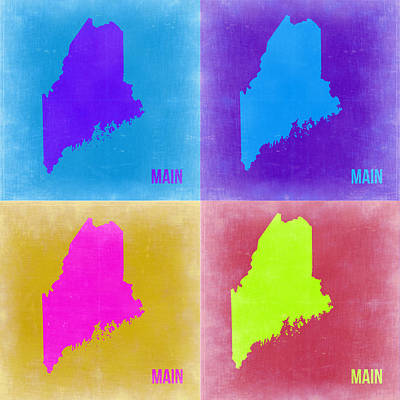 Pop Art Painting - Maine Pop Art Map 2 by Naxart Studio