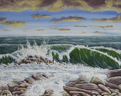 Maine Shore Painting - Crashing Waves At Pemaquid Point Maine by Keith Webber Jr