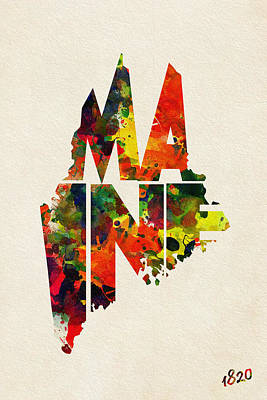 Painting - Maine Typographic Watercolor Map by Inspirowl Design