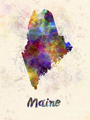 Cartography Painting - Maine Us State In Watercolor by Pablo Romero