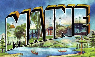 Maine Digital Art - Maine Vintage Print Design by World Art Prints And Designs