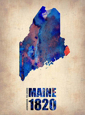 Us State Map Painting - Maine Watercolor Map by Naxart Studio