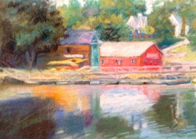 Maine Waterfront Art Print by Janet McGrath