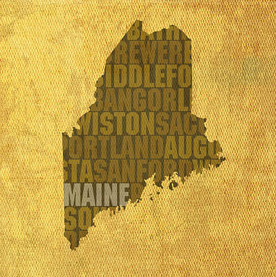Wall Art - Mixed Media - Maine Word Art State Map On Canvas by Design Turnpike