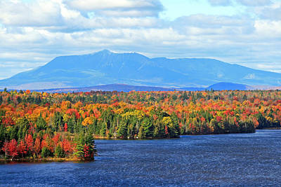 Maine's Mt. Katahdin In Autumn Art Print by Barbara West