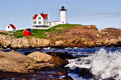 Print featuring the photograph Maine's Nubble Light by Mitchell R Grosky