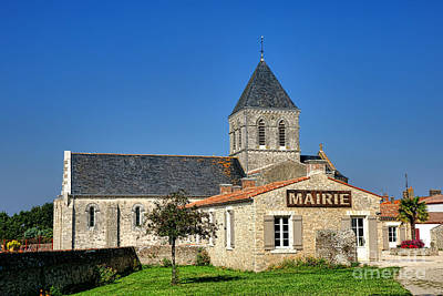 Mairie Eglise Art Print by Olivier Le Queinec