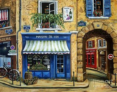 Paris Street Scene Painting - Maison De Vin by Marilyn Dunlap
