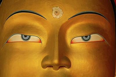 Maitreya Close Up Of Buddha Art Print by Colin Monteath