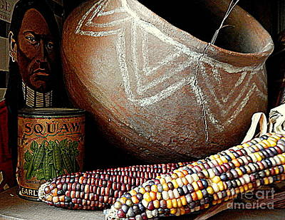 Photograph - Pottery And Maize Indian Corn Still Life In New Orleans Louisiana by Michael Hoard