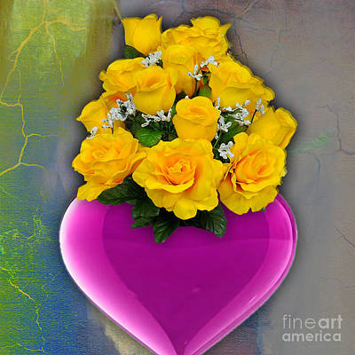 Mixed Media - Majenta Heart Vase With Yellow Roses by Marvin Blaine