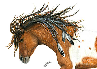 Curly Horse Painting - Majestic Mustang Horse by AmyLyn Bihrle