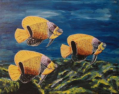 Majestic Angelfish Painting - Majestic Angelfish by Wayne Cantrell