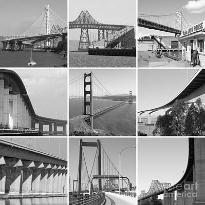 Majestic Bridges Of The San Francisco Bay Area Black And White 20140828 Art Print