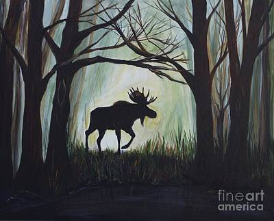 Painting - Majestic Bull Moose by Leslie Allen