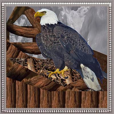 Combination Mixed Media - Majestic Eagle King Of The Bird Of Prey  Decorated And Border And Nest Provided By The Artist With M by Navin Joshi