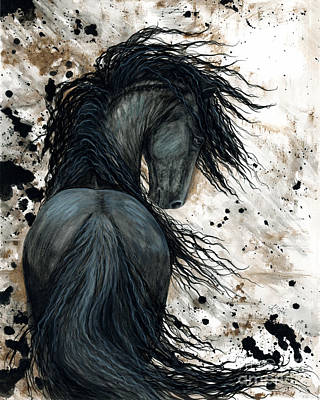 Black Friesian Painting - Majestic Friesian Horse 123 by AmyLyn Bihrle