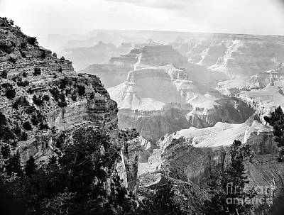 Photograph - Majestic Grand Canyon In Black And White From The Rim by M K Miller