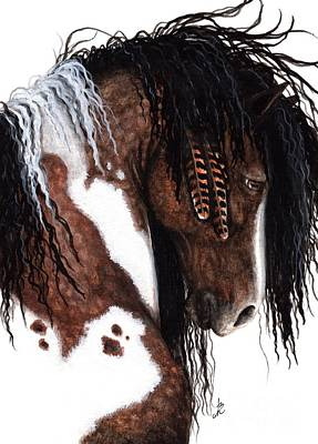 Native American War Horse Painting - Majestic Gypsy Horse 131 by AmyLyn Bihrle