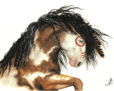 Tri Color Horse Painting - Majestic Horse Mustang 64 by AmyLyn Bihrle