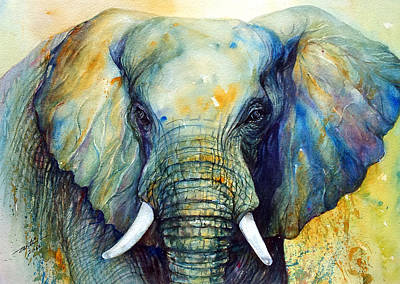 Yellow Elephant Painting - Majestic-iii Dappled by Arti Chauhan
