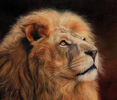 Animals Paintings - Majestic Lion by David Stribbling