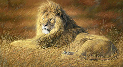 Lion Painting - Majestic by Lucie Bilodeau