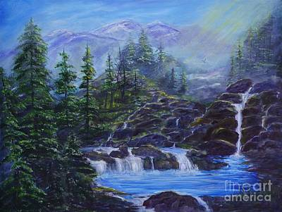 Painting - Majestic Mountain Falls by Leslie Allen