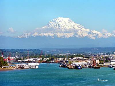 Majestic Mt Rainier And Pt Of Tacoma Wa Art Print by Sadie Reneau
