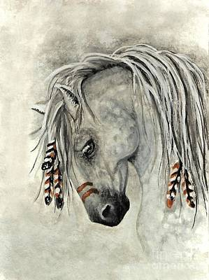 Native Portraits Painting - Majestic Mustang 30 by AmyLyn Bihrle