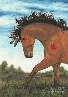 Tri Color Horse Painting - Majestic Mustang 36 by AmyLyn Bihrle