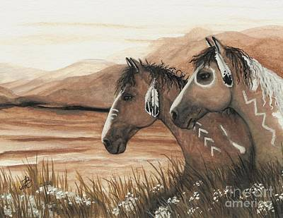 Native Portraits Painting - Majestic Mustang Series 42 by AmyLyn Bihrle