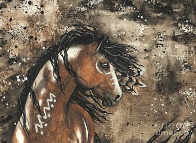 Tri Color Horse Painting - Majestic Mustang Series 61 by AmyLyn Bihrle