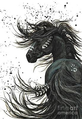 Black Friesian Painting - Majestic Spirit Horse 65 by AmyLyn Bihrle