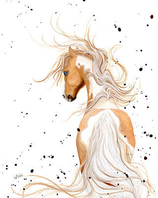 Palomino Horse Painting - Majestic Palomino Pinto by AmyLyn Bihrle