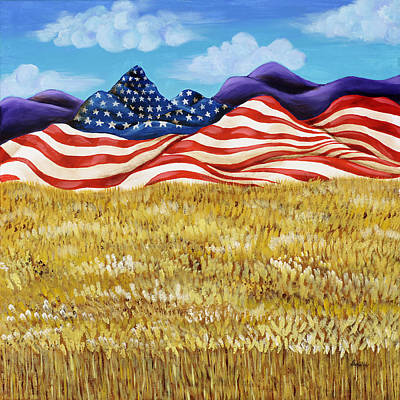 4th Of July Painting - Majestic Patriot Mountains by Donella OGorman