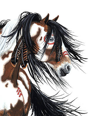 Tri Color Horse Painting - Majestic Pinto Horse by AmyLyn Bihrle
