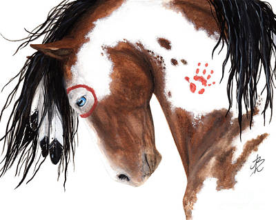 War Pony Painting - Majestic Pinto Horse 129 by AmyLyn Bihrle