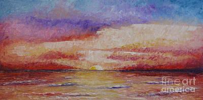 Pallet Knife Painting - Majestic Sunset  by Tatjana Popovska