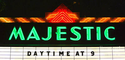 Digital Art - Majestic Theater Marquee Classic Cinema Americana Film Grain Digital Art by Shawn O'Brien