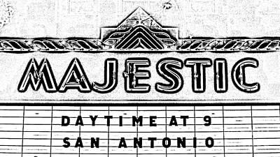 Digital Art - Majestic Theater Marquee Classic Cinema Americana San Antonio Black And White Digital Art by Shawn O'Brien
