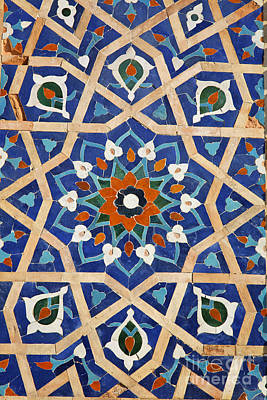Central Asia Photograph - Majolica Tile Work At Samarkand In Uzbekistan by Robert Preston
