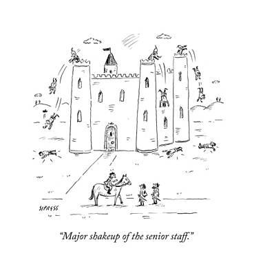 Staff Drawing - Major Shakeup Of The Senior Staff by David Sipress