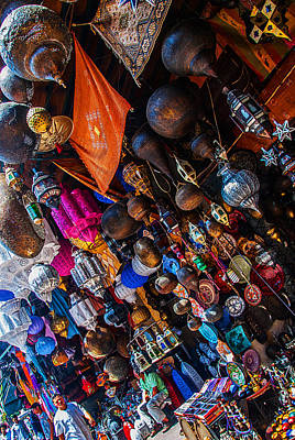 Photograph - Majorel Blue Lanters Dot The Lush Display Of Colors Near Jemaa El Fna by Ellie Perla