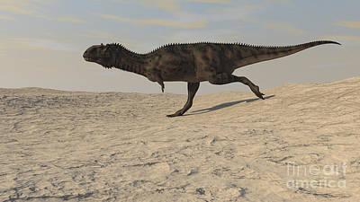 Running Digital Art - Majungasaurus Running Across A Barren by Kostyantyn Ivanyshen