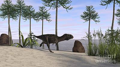Running Digital Art - Majungasaurus Running Along The Shore by Kostyantyn Ivanyshen