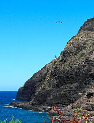 Photograph - Makapuu Lighthouse Parasailer by Michele Myers