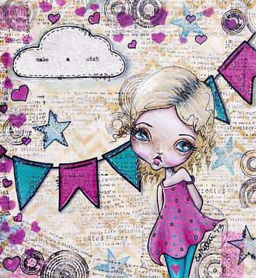Bunting Mixed Media - Make A Wish by Lizzy Love of Oddball Art Co